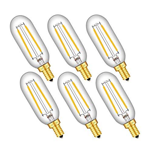 (CRLight 2W LED Candelabra Bulb 25W Equivalent 250LM Warm White 2700K, E12 Base T25(T8) Dimmable LED Tubular Edison Bulbs, 360 Degree Beam Angle, 6 Pack)