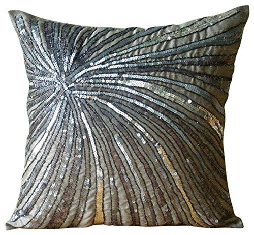 - The HomeCentric Designer Grey Accent Pillows, Metallic Sequins and Beaded Pinwheel Glitter Pillows Cover, 18