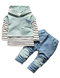 Kids Baby Boys Girls Clothing Set Striped Hoodie Sweatshirt Tops Pants Outfits