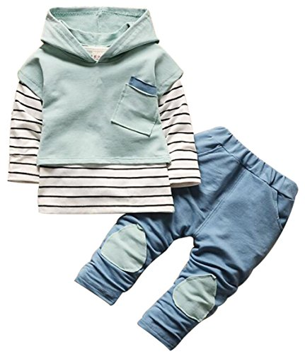 Girls Striped Hoodie - Kids Baby Boys Girls Clothing Set Striped Hoodie Sweatshirt Tops Pants Outfits Size 12-18Months/Tag90 (Green)