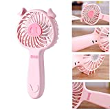 Businda Chargable Mini Hand-hold Fan/Little Pig Adjustable Wind with 3 Speed Fan/USB Powered Hand up Fan/Suitable for Walking Bedroom Dorm room