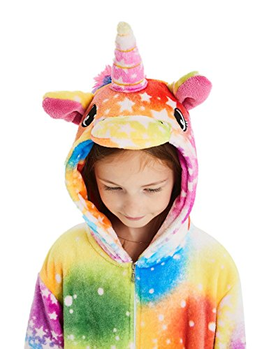 ABENCA Unisex Kids Fleece Onesie Unicorn Pajamas Animal Christmas Halloween Cosplay Costume Sleepwear,Colorful Unicorn Rainbow New, 140
