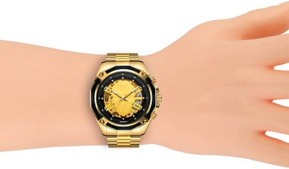 Orologio da uomo moda creativa casual sportivo classico sportivo automatico meccanico cava impermeabile orologio da uomo in acciaio Black-faced Golden Head