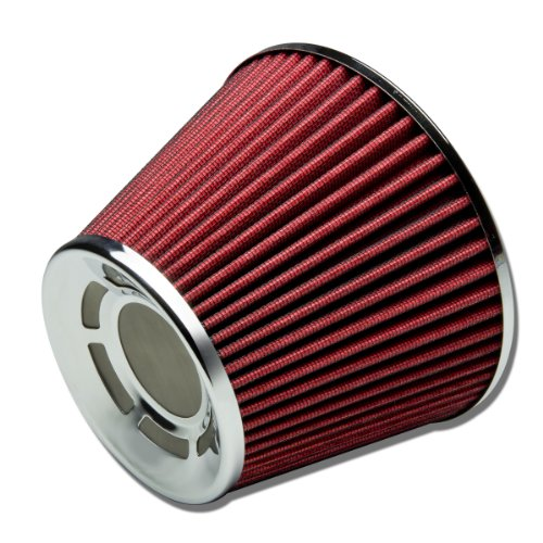 "3"" Inlet x 7"" Air Intake Chrome Open Top Radiation Design Cone Air Filter (Red)"