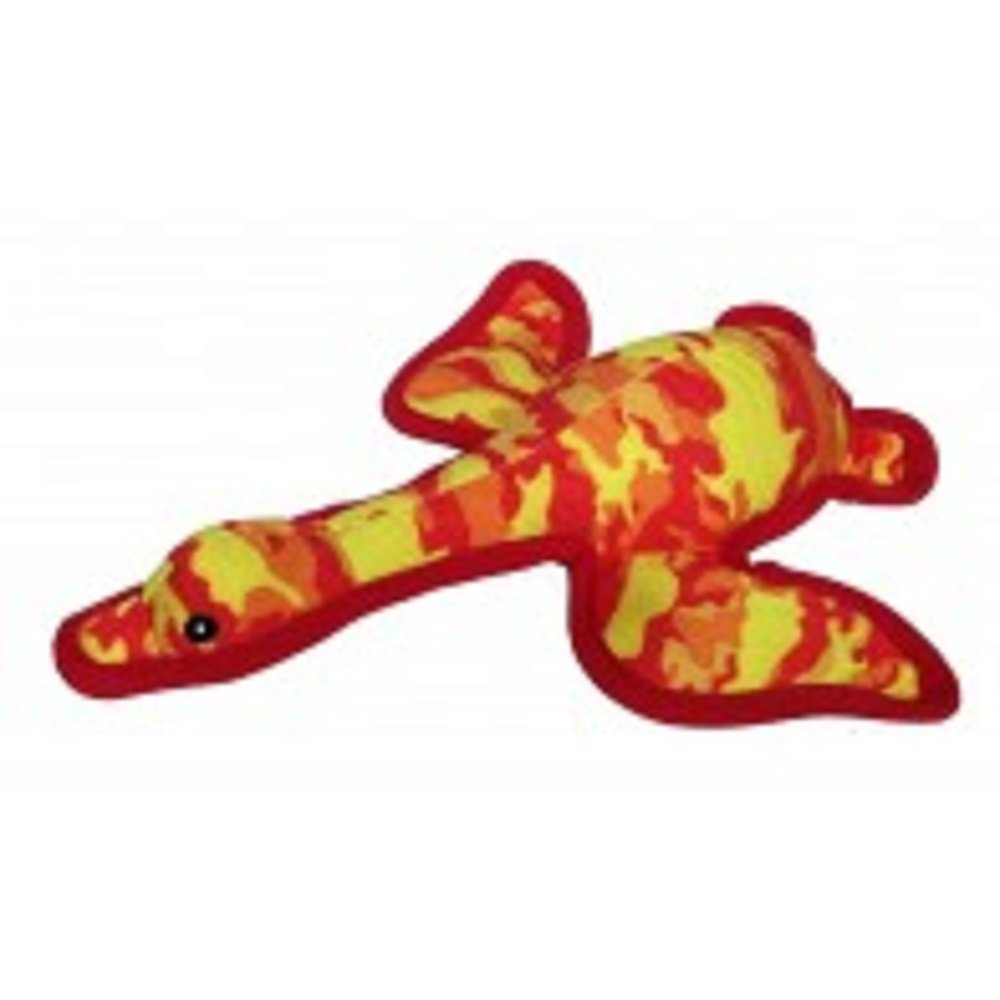 PetLou Squeeze Me Land Warrior Camouflage Mallard Duck Dog Toy, Yellow and Red
