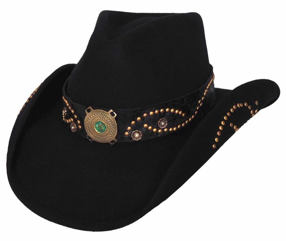 Montecarlo Bullhide Hats SHEILA Wool Felt Cowboy Western Hat (Medium, Black)