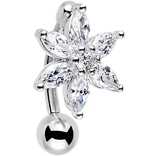 (Body Candy Stainless Steel Clear Accent Lily Flower Top Mount Dangle Belly Ring)