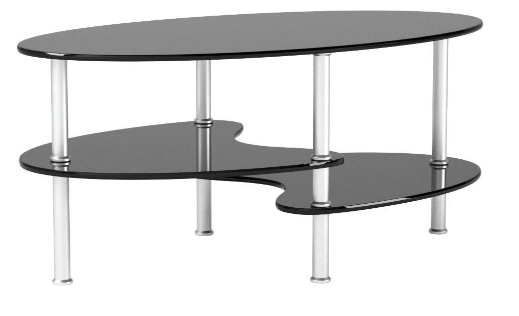 Ryan Rove Fenton 38 Inch Oval Two Tier Glass Coffee Table Jodyshop