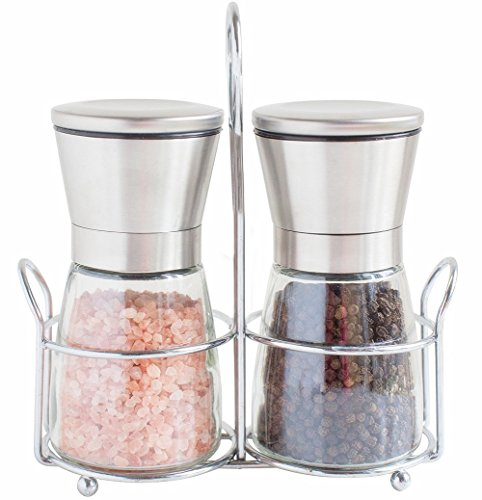 Salt and Pepper Grinder Set (Pack of 2 Mills) with Adjustable Coarseness and Stainless Steel Matching Stand (Matching Grinders)