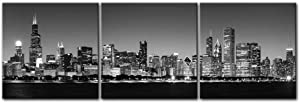Youk-art Canvas Print Modern Wall Art Picture For Home Decor Bathroom Living Room Bedroom Black & White Chicago Skyline Night Buildings Cityscape Coastline 3 Pieces Paintings Framed Artwork (black)