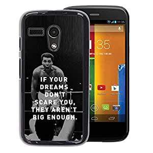 A-type Arte & diseño plástico duro Fundas Cover Cubre Hard Case Cover para Motorola Moto G 1 1ST Gen (Boxing Fighter Exercise Motivational Quote)