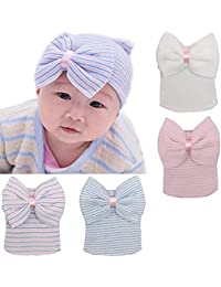 5f85e22698c BQUBO Newborn Hospital Hat Infant Baby Hat Cap with Big Bow Soft Cute Knot  Nursery Beanie