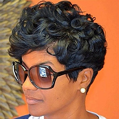Short Curly Wigs Woman Black Pixie African American Synthetic Short Black Heat Resistance Front Fiber (a)