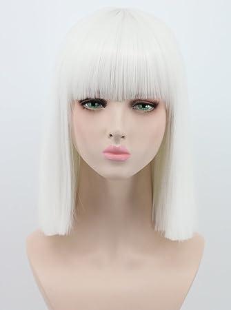 Amazon.com   Yuehong Shoulder Length Lob White Halloween Party Bob Wigs For Women  Costume Wig (White)   Beauty 8c3968f158