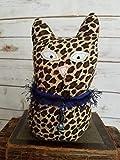 9'' Tall Ragamuffin Ugly Sweater Handmade Kitty Cat Art Doll Leopard Stuffed Animal Cat Lovers Gift