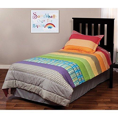 2pc Kids Girls Twin Rainbow Quilt Set, Plaids Bedding, Colorful Stripes Pattern, Vibrant Rainbow Colors, Printed Dots, Cherry Red Orange Yellow Green Blue Purple - Stripes Comforter Rainbow