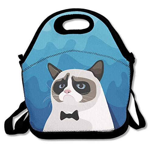 Birman Strap - Jiqnajn6 Grumpy Birman Cat with Black Bow Tie Insulated Neoprene Lunch Bag Kids & Adults Zipper Lunch Tote Handbag with Adjustable Strap Lunchbox for School Office