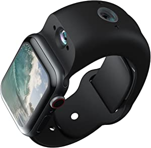 Wristcam, Apple MFi-Certified Modular Camera Smartband for Apple Watch, 42mm-44mm, Black, 8MP + 2MP Cameras, 4K Photo, 1080p Video, 8GB Storage, WiFi, Bluetooth 5, IP68 Water Resistant