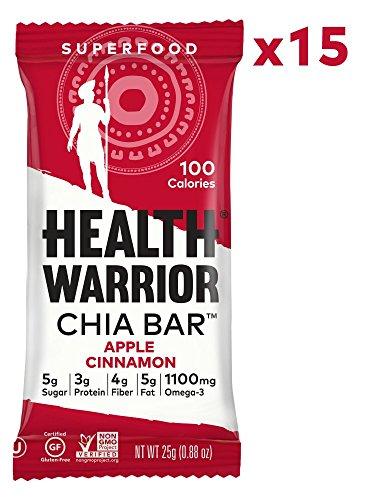 HEALTH WARRIOR Chia Bars, Apple Cinnamon, Gluten Free, Vegan, 25g bars, 15 Count ()