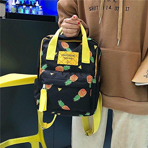 Nero Tela Viaggio Donna Casual Di Media Zaini Jund Fashion Scuola Ananas Stampa Kawaii Piccoli Outdoor Daypack Modello AnxaS5wqvF