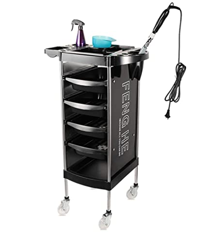 Salon Barber Cart Hairdressing Trolley Beauty Rolling Storage Tray 5 Layers with Hair Dryer Holder ,