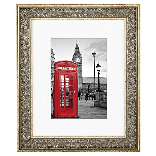 ONE WALL Tempered Glass 8x10 Inch Ornate Picture Frame with Mat for 5x7 Photo, Gold Wood Frame with Carved Pattern for Wall and Tabletop - Mounting Hardware Included