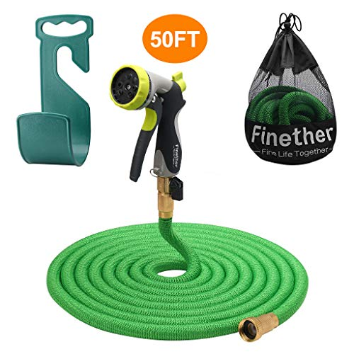 Finether 2019 Advanced 50ft Garden Hose Expandable with Double Latex Core, 3/4 Brass Fittings, High Density Woven(Extra 8 Function Spray Nozzle for Free, Hanger, Storage Bag for Free)