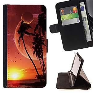 BullDog Case - FOR/HTC Desire 820 / - / alien planet beach world palm trees sunset art /- Monedero de cuero de la PU Llevar cubierta de la caja con el ID Credit Card Slots Flip funda de cuer