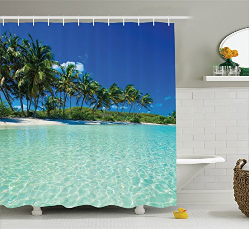 Ambesonne Ocean Decor Collection, Image Of A Sunny Day In A Tropical Island  With Palm Trees And Ocean Heaven Calm Lands, Polyester Fabric Bathroom  Shower ...