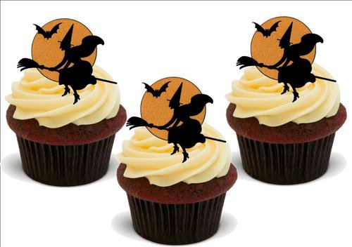 Witch on Broomstick Silhouette HALLOWEEN 12 Edible Standup Premium Wafer Cake Toppers