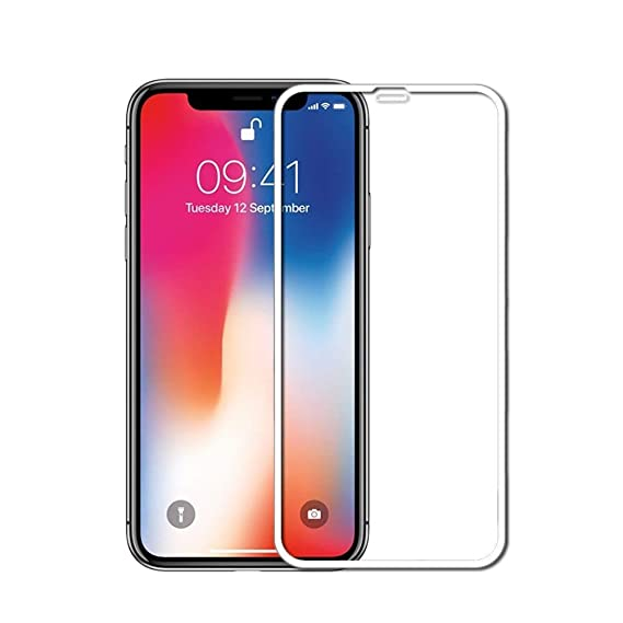 new style aa94a d8e43 iPhone 5D Curved Full Cover Glass Protection HD (White/Clear, iPhone Xs Max)