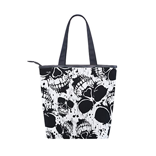Bag Skull MyDaily Scary Womens Skeleton Tote Shoulder Canvas Handbag RtwwWcTAqy