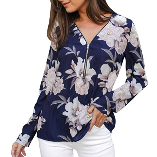 JOFOW Women's Holiday Long Sleeve Floral Print V Neck Zipper Loose Shirt Blouse (XL,Navy) from JOFOW