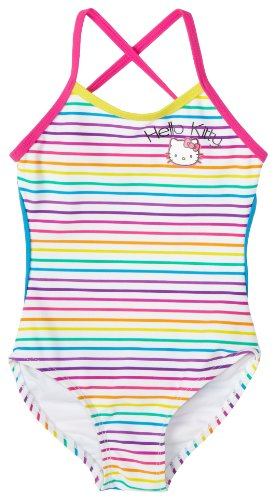 Hello Kitty Little Girls'  1 Piece Cross Back Swimsuit, Rainbow Stripe,  5/6