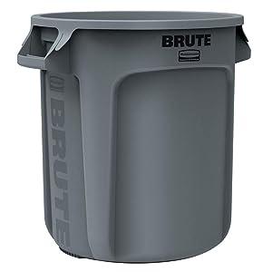 Rubbermaid Brute Round Trash Can10 Gallon, Gray