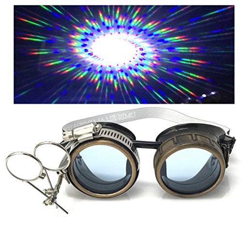 Steampunk Victorian Style Goggles with Compass Design, UV Glow in The Dark Neon Blue Rave Diffraction Glasses Spiral Lenses -