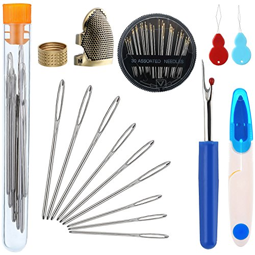 Zhanmai 46 Pieces Sewing Tools Set Includes Sewing Thimble Finger Protector Hand Needles Large-Eye Knitting Needles Seam Ripper Needle Threader Yarn Scissor