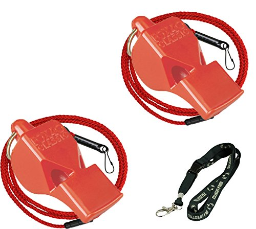 Fox Safety Lead Clips - Fox 40 Classic Loud Pealess Official Referee, Sports Coach, Lifeguard Whistle + Breakaway Lanyards | 2pk Bundle + Koala Lanyard, Red