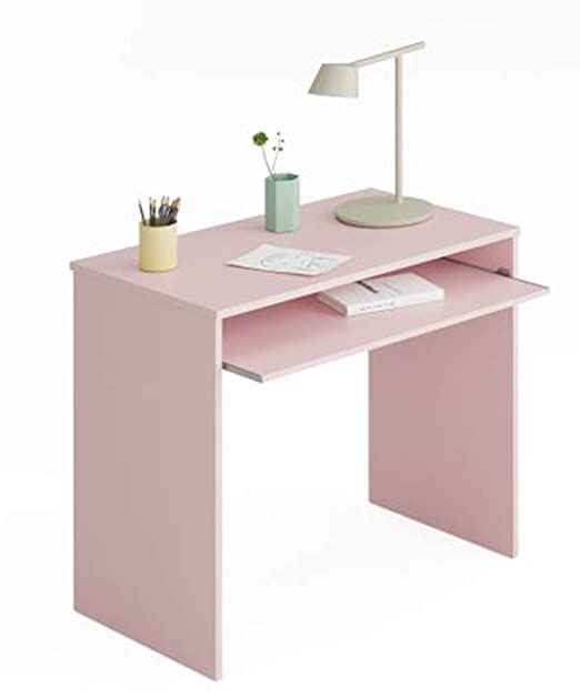 PEGANE – Mesa Escritorio para Ordenador, Rosa – Dim: 79 x 90 x 54 ...