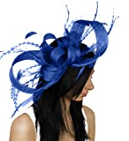 Large Brown Paper Packages and Feathers Ascot Fascinator Hat With Headband - Royal Blue
