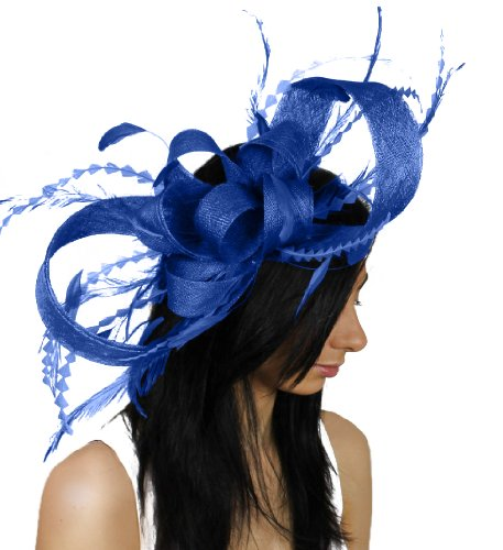 Large Brown Paper Packages and Feathers Ascot Fascinator Hat With Headband - Grey