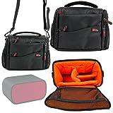 DURAGADGET Deluxe Quality, Shock-Absorbing & Water-Resistant Shoulder / Messenger Bag in Black & Orange for Ultimate Ears Mini Boom Portable Speaker