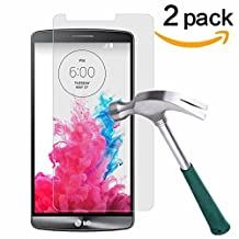 LG G3 Screen Protector,TANTEK [Bubble-Free][HD-Clear][Anti-Scratch][Anti-Glare][Anti-Fingerprint] Premium Tempered Glass Screen Protector for LG G3,[Lifetime Warranty]-[2Pack]