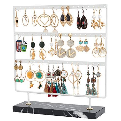 Marble Earring Holder 3 Tier Earring Stand Organizer Earring Tree Stand Holder Jewelry Display Stand Rack with Tray for Earring Display Showcase