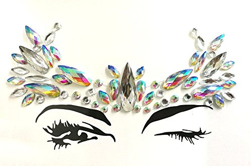 8 Packs Festival Face Jewels Rhinestones Gems Face Crystals Tattoo Jewelry for Forehead Body Decorations Party Supplies, Makeup Rhinestone Face Jewels Stickers, Women Mermaid Face Gems Glitter by Imagination Park (Image #1)