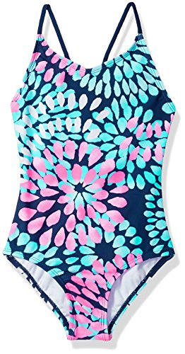 Kanu Surf Big Girls' Daisy Beach Sport 1-Piece Swimsuit, Navy, 12