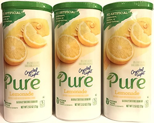 - Crystal Light Pure Drink Mix - Lemonade Flavor - 5 Count Pitcher Packs Per Container - Pack of 3 Containers