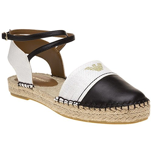 Emporio Armani Logo 2 Part Espadrille Flat Shoes Multi Black & Natural iSw6jx