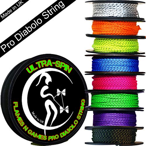 ULTRA-SPIN Pro Diabolo String 10m Reel (Choice of Colors) Performance, High Speed Diablo String for all Diabolos. (Yellow)