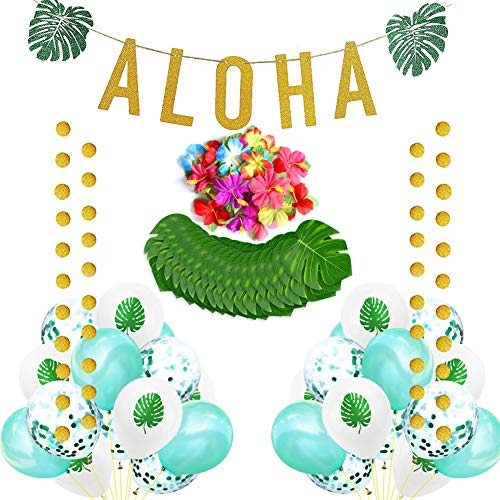 Sharlity Beach Summer Tropical Party Theme-Palm Leaves Hibiscus Flowers Gold Glittery Aloha Green Leaves Garland Aloha Banner Latex Confetti Balloons for Hawaiian Party Decorations]()
